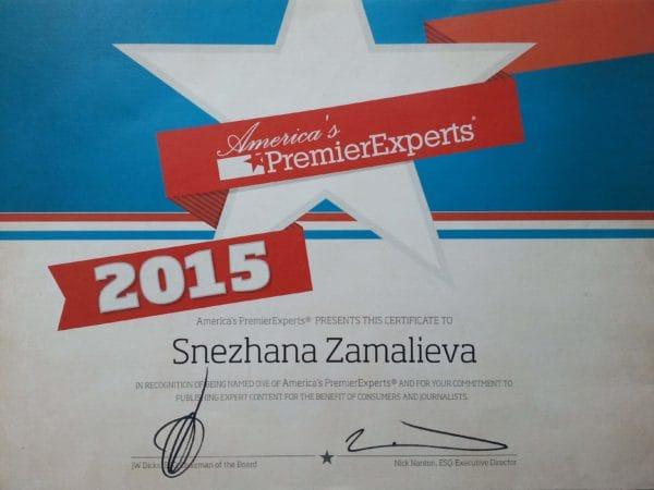 На фото сертификат America's Premier Expert